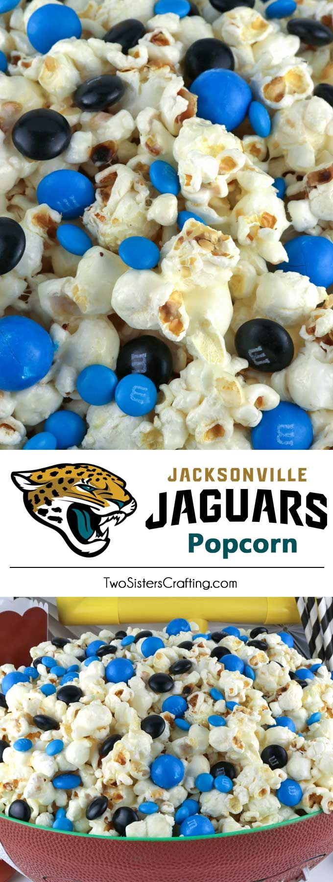 Jacksonville Jaguars Popcorn for those Jacksonville Jaguars fans in your life. Sweet, salty, crunchy and delicious and it is extremely easy to make. This delicious popcorn will be perfect at your next game day football party. a NFL playoff party or a Super Bowl party. Follow us for more fun Super Bowl Food Ideas. #jacksonvillejaguars #jaguars #superbowl #superbowlparty #superbowlfood #jacksonvillejaguarsfood