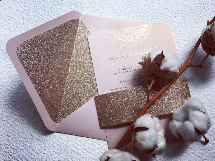 Wedding suite with gold foil abd sand glitter liner