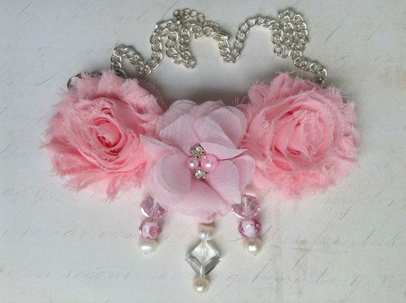 Pink Flower Statement Bib Necklace with Glass and Pearl Bead Accents by MonicaRudyJewelry - $37