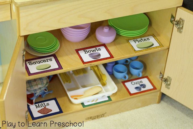 FREE labels and signs to make your Kitchen Dramatic Play area organized, functional and fun!