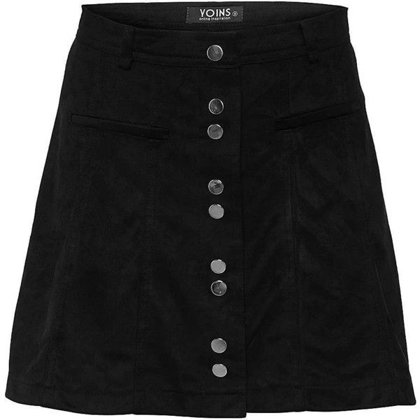 Yoins Suede High-rise Button A-line Mini Skirt ($27) ❤ liked on Polyvore featuring skirts, mini skirts, bottoms, yoins, black, faux suede mini skirt, a line skirt, short skirts, high-waist skirt and high waisted a line skirt