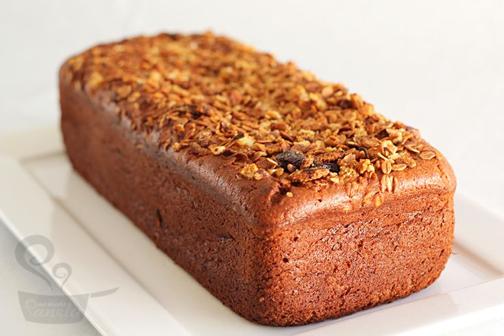 pão bolo de banana integral com granola