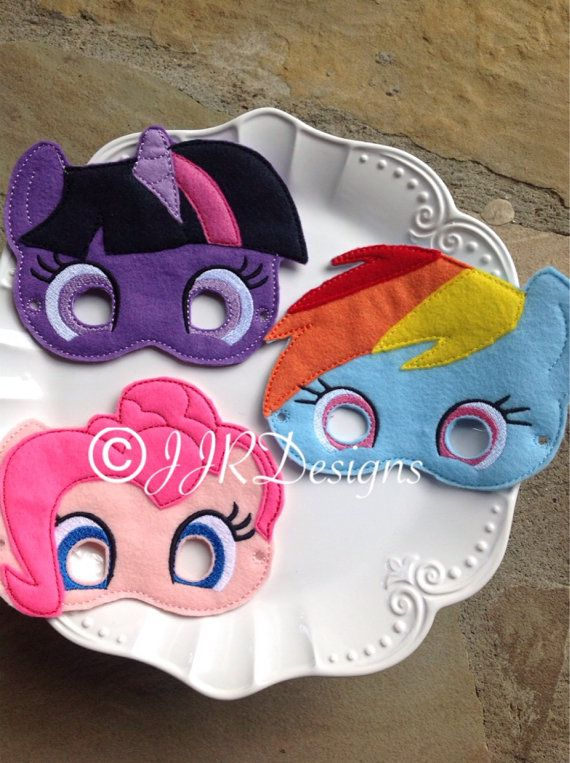 My Little Pony Inspired Felties- My Little Pony Inspired Masks-Rainbow Dash Feltie- Pinkie Pie Feltie- Pony Masks- Dress up Mask on Etsy, $8.50