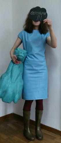 Платье из натуральной кожи и шерсти с кашемиром