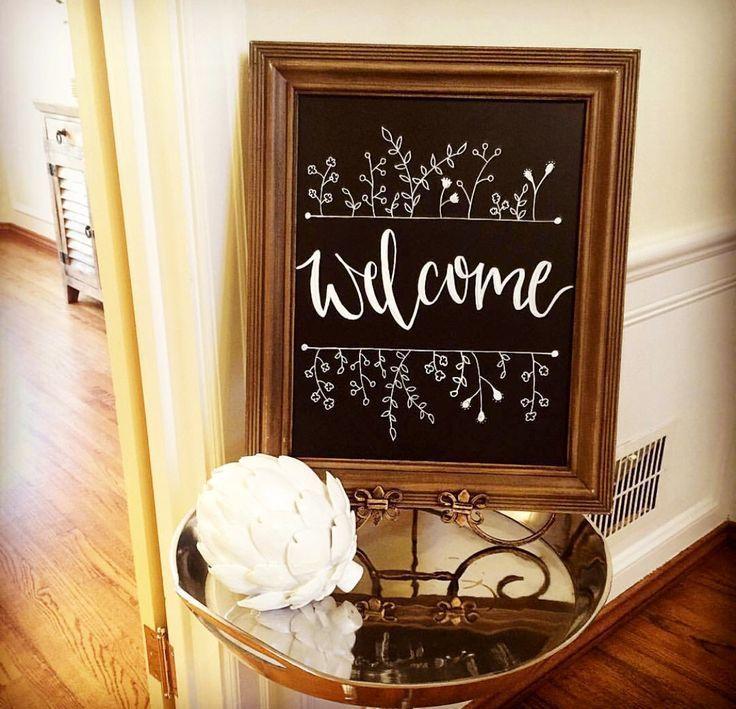Hand lettered welcome sign on chalkboard 476