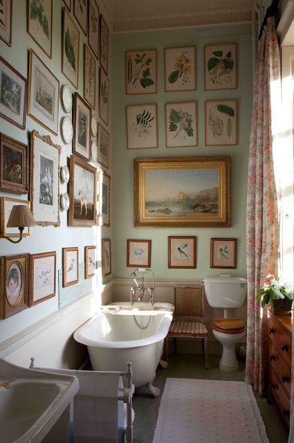 botanical, art, seaside style, landscape, eggshell blue, bathroom, tiled, bathtub curtains, floral, flora, fauna repin.