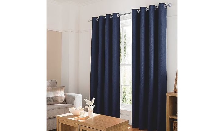 George Home Inky Blue Textured Weave Eyelet Curtains, read reviews and buy online at George at ASDA. Shop from our latest range in Home & Garden. Give an ins...