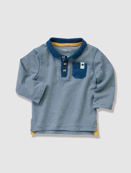 Baby Boy's Striped Polo Shirt Marine stripe+Sand stripe+Yellow stripe