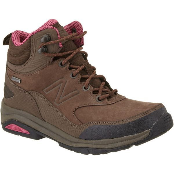 New Balance Women's 1400 Leather Hiking Boot ($100) ❤ liked on Polyvore featuring shoes, boots, ankle boots, brown, lace up ankle boots, leather bootie, leather hiking boots and short lace up boots