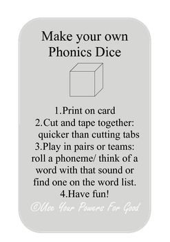 ***Quick and easy make your own dice game.*** Use the sounds: shchthngaieeighoaoo You can easily make lots of copie on card. Children can even make the dice themselves. Don't worry about laminating! stick and play. The game can be differentiated for ability levels and played in pairs/ teams or individually.