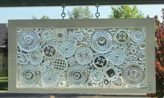 Clear glass crystal dishes repurposed into window; artist unknown / Upcycle, Recycle, Salvage, diy, thrift, flea, repurpose