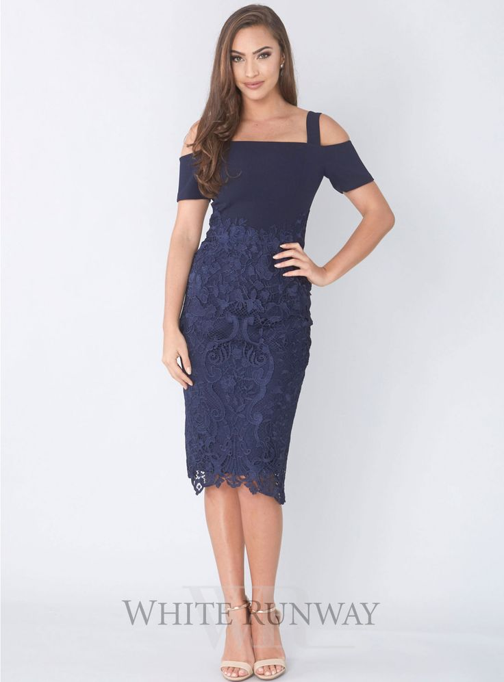 Breathless Love Midi. A gorgeous midi-length dress by Grace & Hart. A fitted off shoulder style featuring a floral cut-out lace skirt and thin shoulder straps.