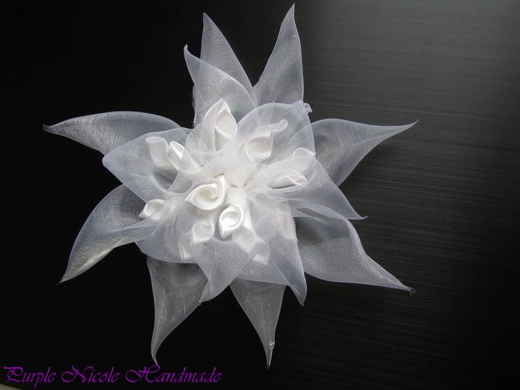 The Olimpian - Handmade Bridal Hair-clip Flower by Purple Nicole (Nicole Cea Mov). Materials: satin, organza.