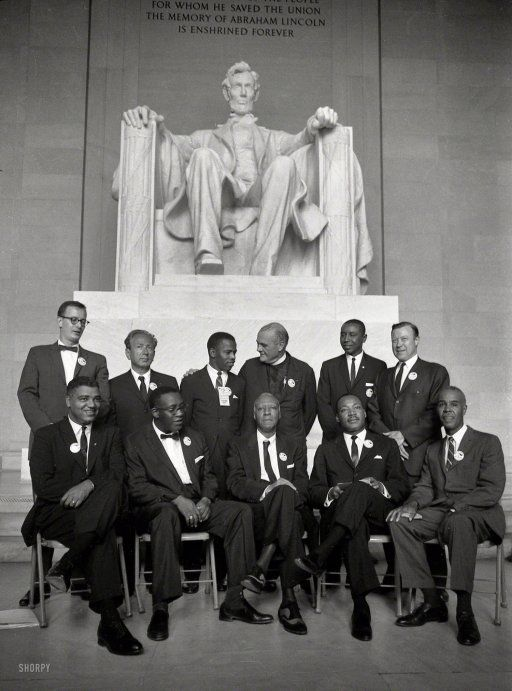 "August 1963. Group portrait of several of the organizers of the March on Washington, among them: Mathew Ahmann, Rabbi Joachim Prinz, John Lewis, the Rev. Eugene Carson Blake, Whitney Young, A. Philip Randolph, the Rev. Martin Luther King Jr., and Roy Wilkins. Photo by Stanley Tetrick for the Look magazine assignment ""Negro march on Washington, D.C."""
