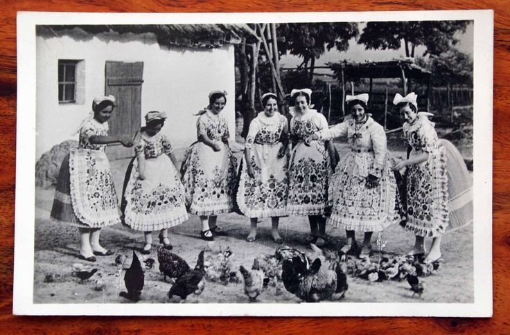 Vintage Photo Postcard RP Hungary Girls of Kalocsa Traditional Costumes Chickens | eBay