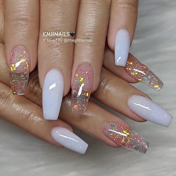 Milky Nails And Butterflies Miladies Net White Acrylic Nails Coffin Nails Designs Pretty Acrylic Nails