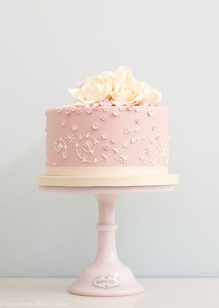 Pink and Ivory Piped Celebration Cake Rosalind Miller Cakes London