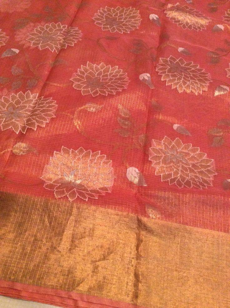 Peach pure zari tissue kota with all over zari and thread weaving design