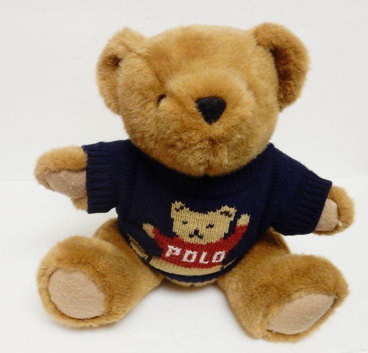 VTG Polo Ralph Lauren Plush Teddy Bear Doll 1997 w Trademark Sweater  #PoloRalphLauren #AllOccasion