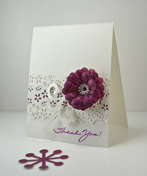 Accent color under punch  piece  CAS159 Thank you by Arizona Maine - Cards and Paper Crafts at Splitcoaststampers