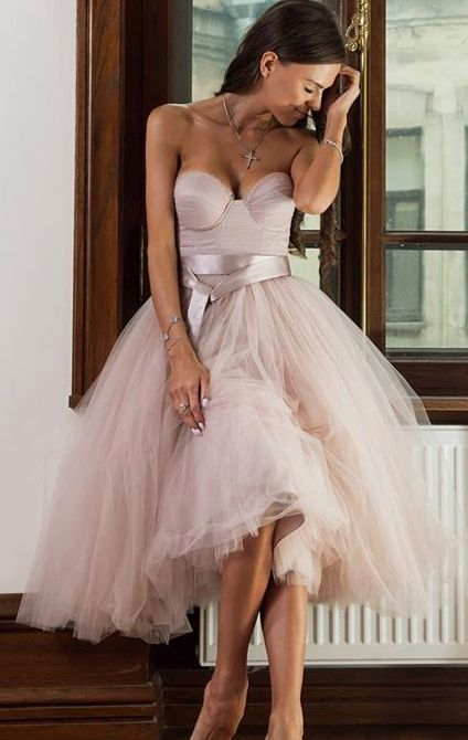 Tea Length Prom Dress,Sweetheart Tulle Homecoming Dress,Tea Length Ball Gown Party Dresses,Cocktail Dress with Belt