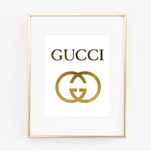 Gucci Logo Poster Real Gold Foil Print Wall Art Prada Marfa distance like Gossip Girl Fashion Color Gold and White poster 0541