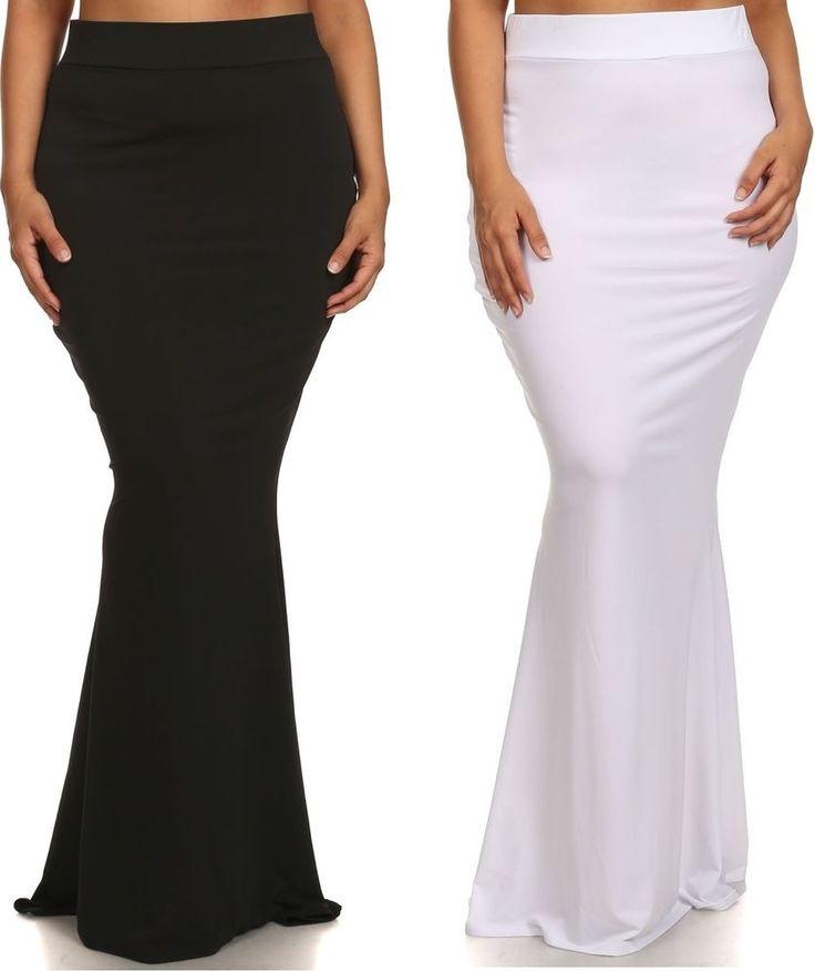 Plus High Waist Slim Bodycon Fitted Mermaid Flare Long Maxi Skirt