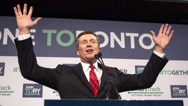 John Tory elected Toronto's mayor, ending tumultuous reign of Rob Ford