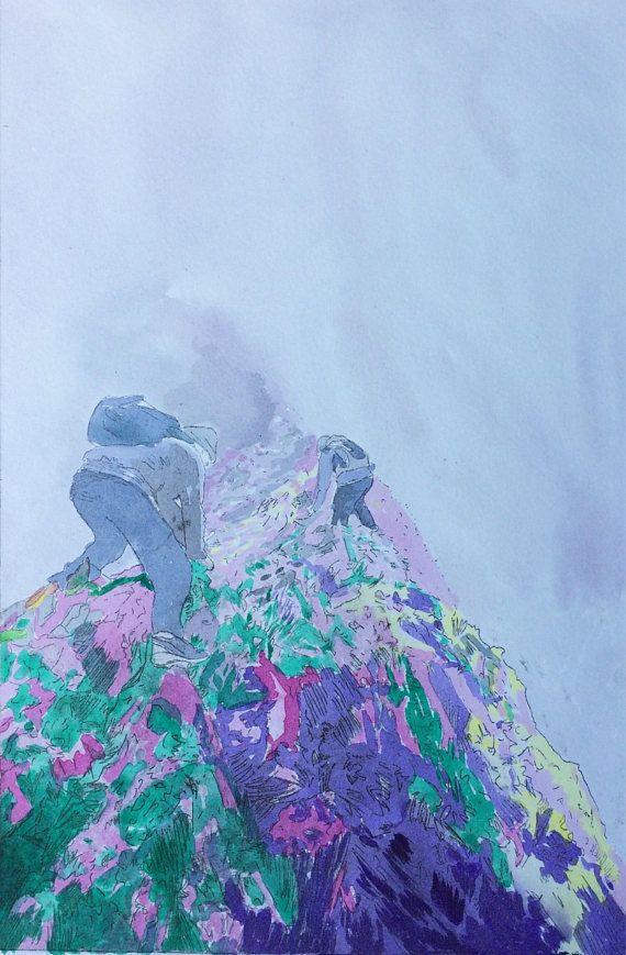 Scrambles in Snowdonia original etching, Welsh mountain art print, misty moody landscape art