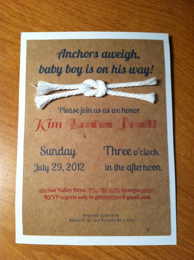 nautical themed baby shower invitation handmade by yours truly