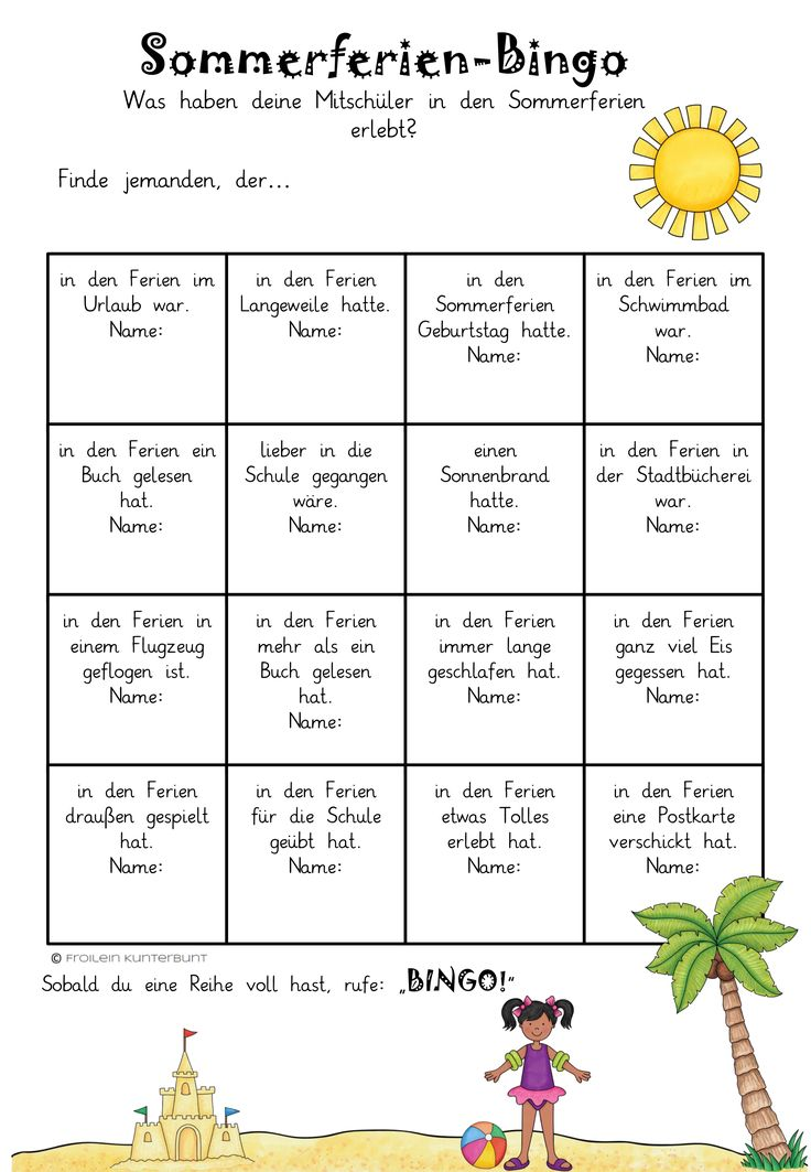Summer holidays bingo – teaching material in the subject of interdisciplinary