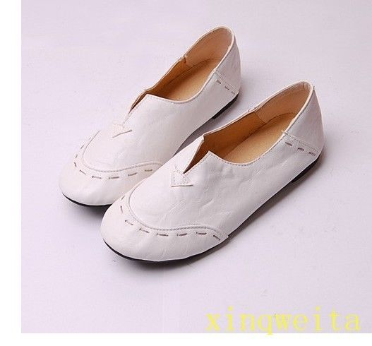 2017 Women Girl Ballet Flats Moccasins Loafers Slip On Faux Leather Shoes Size