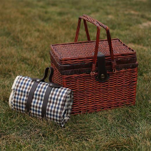 Новый элегантный темно-коричневый главная коробка для хранения персонализированные старинные плетеные корзины для пикника комплект для семьи выходные тур лучший сувениры
