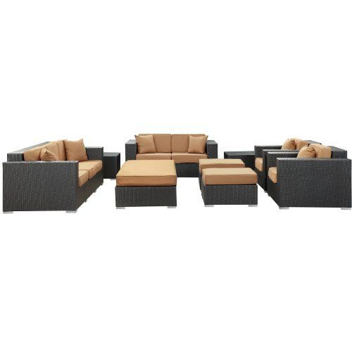 East End Imports Eclipse Outdoor Rattan 9 Piece Set in Espresso with Mocha Cushions by East End Imports. $6211.14. • All Weather Synthetic Rattan Weave • Powder Coated Aluminum Frame • Water & UV Resistant • Machine Washable Cushion Covers • Ships Pre-Assembled. Achieve cosmic aptitude with this empirically abundant outdoor living set. Discover more than the eye can see with Eclipse??s radiant white all-weather cushions and espresso rattan base. Leave ...