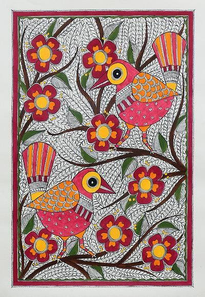 Madhubani painting, 'Jovial Birds' - Signed Madhubani Painting of Birds with Flowers from India