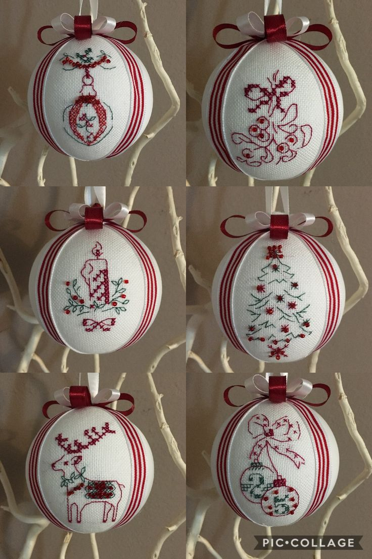 Red and white ❤️ Christmas balls handmade