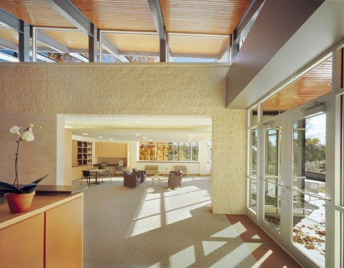 Light Wood And White Cancer Center Interior Spaces