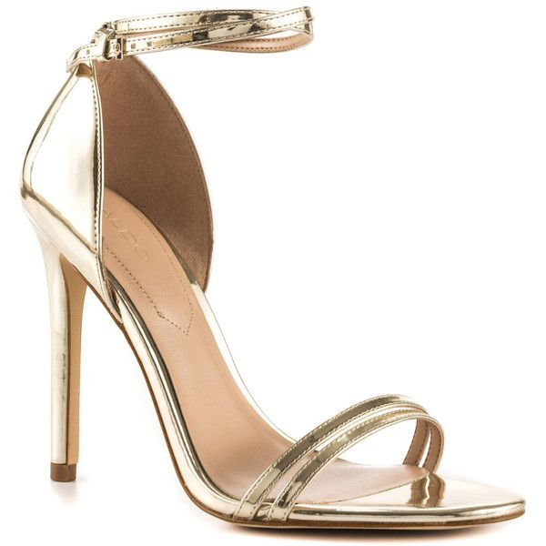 Aldo Women's Elivia - Gold ($80) ❤ liked on Polyvore featuring shoes, gold stilettos, dressy shoes, stilettos shoes, gold dressy shoes and monk-strap shoes