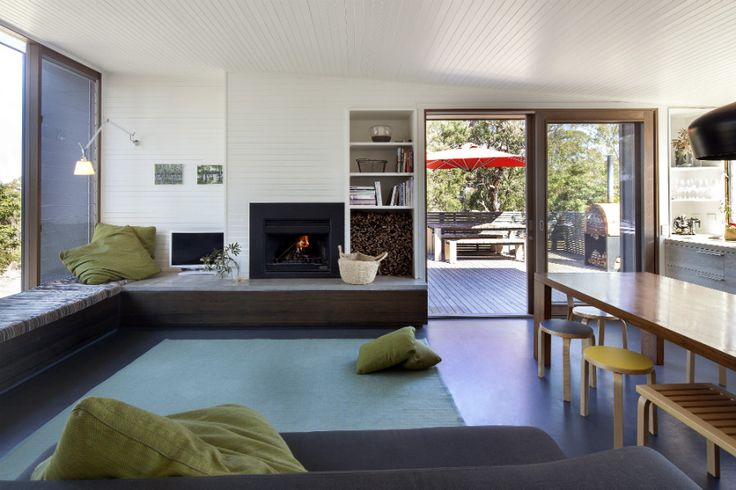 Heatmaster Fireplace - Open wood Fireplace & Living Room Design - Metung - Neil Architecture