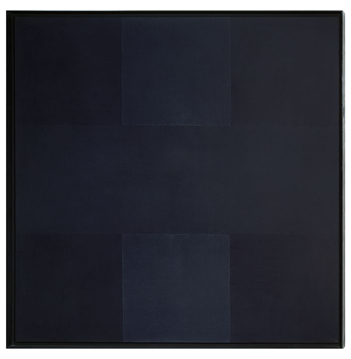 AD REINHARDT - Three Squares (1960)  Many 20th C. Modernists and Minimalists were inspired by Plato's Theory of Forms; they believed that eliminating the distractions (emotional manipulators) of subject matter and sometimes color and brush stroke was the best way to portray a pure truth (Form) in art.