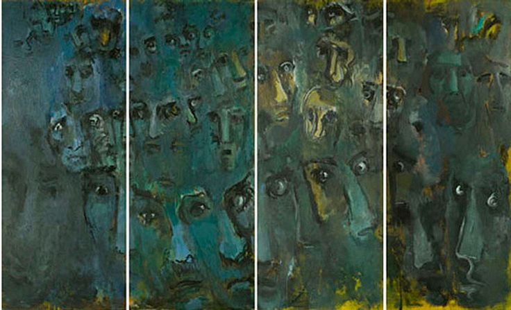 Albert Kotin, Testigos, 1968. Oil on canvas, 104 x 63 inches. This Painting was exhibited November 1974-March 1975 at Museo Universitario, Mexico City. It consists of 4 panels.  Albert Kotin belonged to the early generation of New York School Abstract Expressionist Artists whose artistic innovation by the 1950s had been recognized across the Atlantic including Paris.