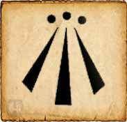 Simbolos celtas: Awen. En gaélico significa inspiración. Este símbolo representa la armonía entre lo opuesto. Cada uno de los dibujos de los extremos representan la dualidad, y la raya que se encuentra en el medio simboliza la armonía entre ellos.