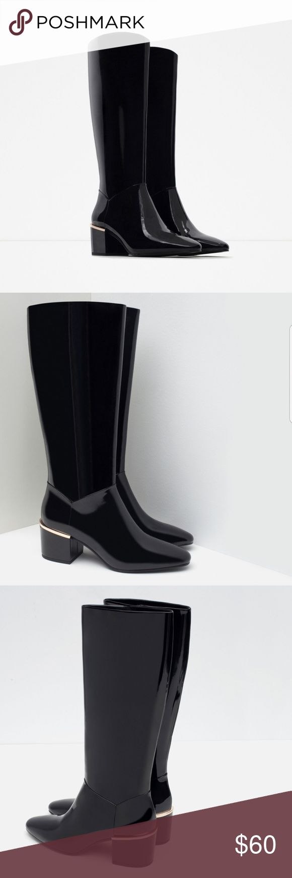 Zara boots Trendy knee high zara boots with a golf medal strip on back of heel for that extra pazzaz! Zara Shoes