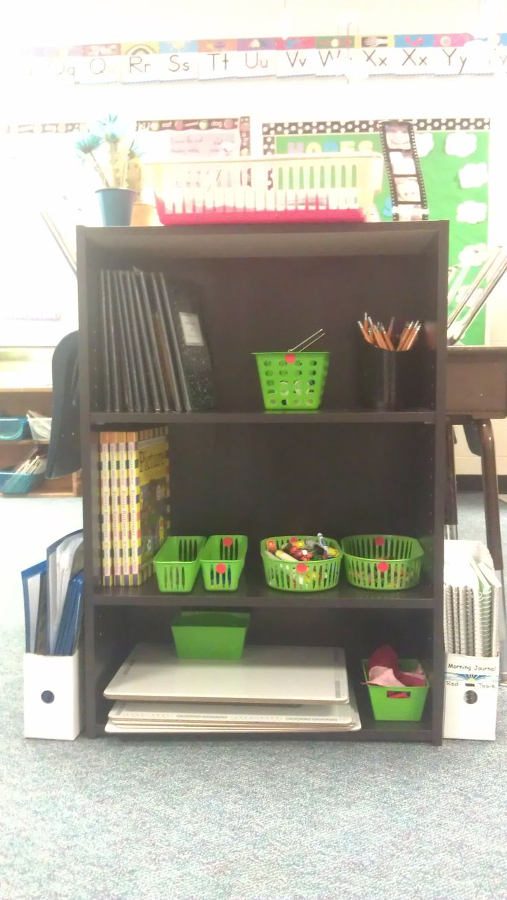 Table Shelves.  Our desks are arranged in two groups.  Use cheap bookshelves (you can can get from Target) with supplies for each group.  The kids are responsible for keeping their shelf organized!