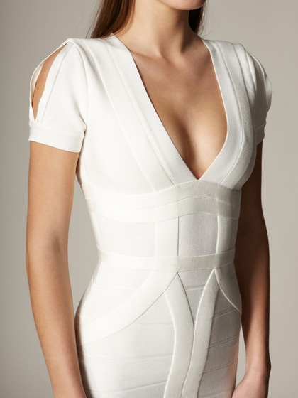 Knit Wynn Slit Sleeve Dress in Alabaster by Herve Leger on Gilt...I love the pattern and cut on this particular Herve Leger dress.  Never seen this style.
