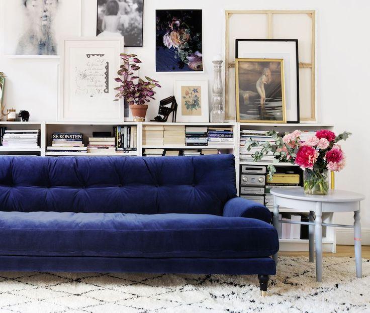 Blue Velvet Sofa via hannasroom.com