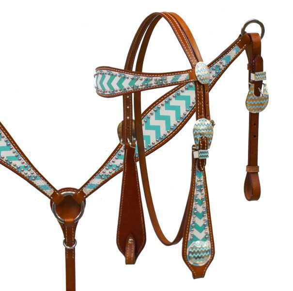 NEW Teal Turquoise Chevron Print Leather Western Tack Set Headstall BC Reins ... Maybe a little trendy with chevron in but i love it!