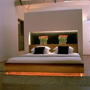 led strip with coloured light under the bed subtle and