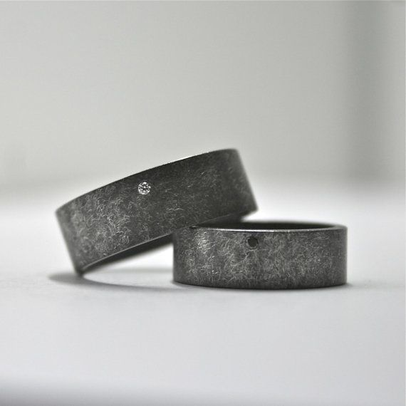 Black and White Diamond Wedding Ring Set - Oxidized Finish - Wide Band Rings - Sterling Silver - Matching Wedding Bands