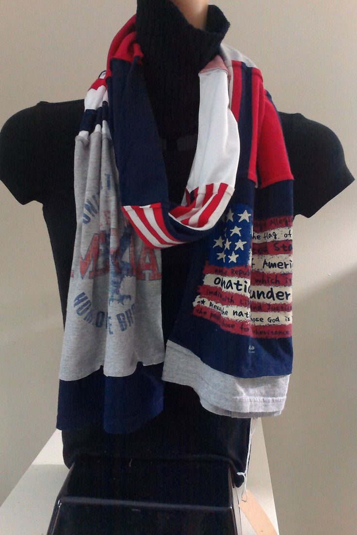 $15.00 - ITEM #USA02:  American Red White and Blue scarf. The pledge of allegiance is recited in the flag!!! Very unique!  Measures approx.. 84 in long.